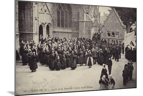 Postcard Depicting Crowds Gather Outside L'Eglise Saint-Nonna after Mass--Mounted Photographic Print
