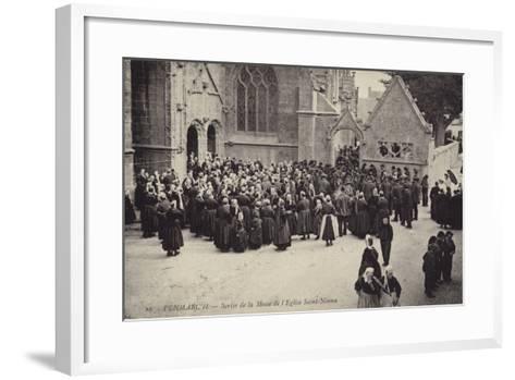 Postcard Depicting Crowds Gather Outside L'Eglise Saint-Nonna after Mass--Framed Art Print