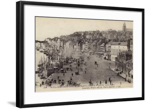 Postcard Depicting the Gambetta Wharf and St Pierre Quarter in Boulogne--Framed Art Print