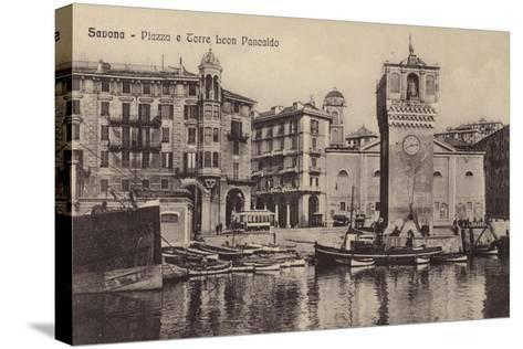 Postcard Depicting the Piazza and Torre Leon Pancaldo--Stretched Canvas Print