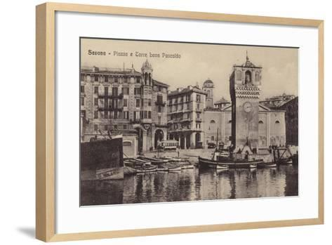Postcard Depicting the Piazza and Torre Leon Pancaldo--Framed Art Print