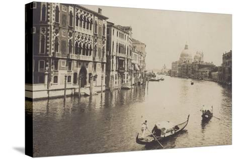 Postcard Depicting Gondolas on the Grand Canal in Venice--Stretched Canvas Print