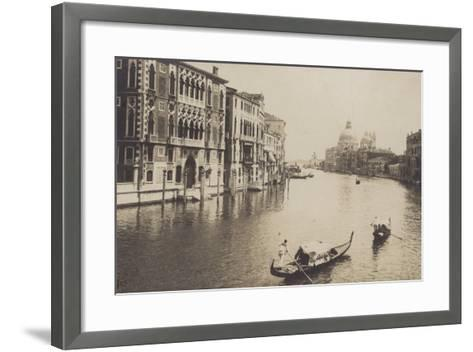 Postcard Depicting Gondolas on the Grand Canal in Venice--Framed Art Print