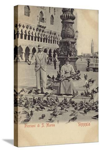 Postcard Depicting a Man and Woman Feeding Pigeons in Piazza San Marco--Stretched Canvas Print