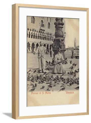 Postcard Depicting a Man and Woman Feeding Pigeons in Piazza San Marco--Framed Art Print