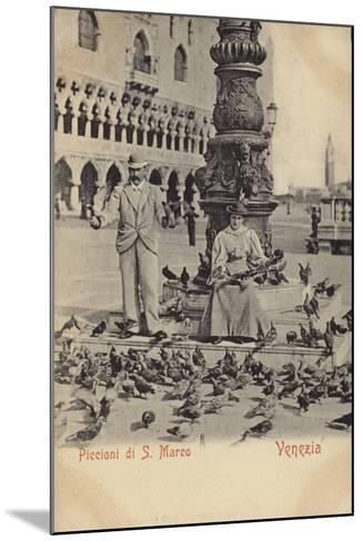 Postcard Depicting a Man and Woman Feeding Pigeons in Piazza San Marco--Mounted Photographic Print