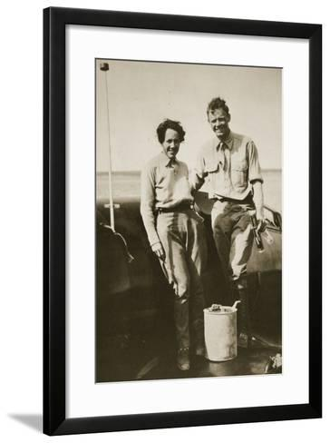 Charles and Ann Lindbergh after their Flight to Japan, 1931--Framed Art Print