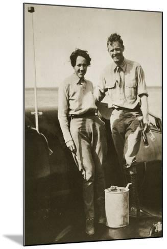 Charles and Ann Lindbergh after their Flight to Japan, 1931--Mounted Photographic Print