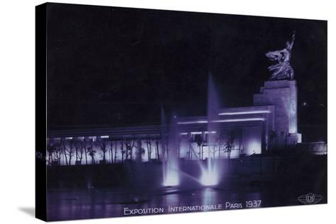 Soviet Pavilion at Night, Exposition Internationale, Paris, 1937--Stretched Canvas Print
