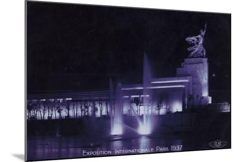 Soviet Pavilion at Night, Exposition Internationale, Paris, 1937--Mounted Photographic Print