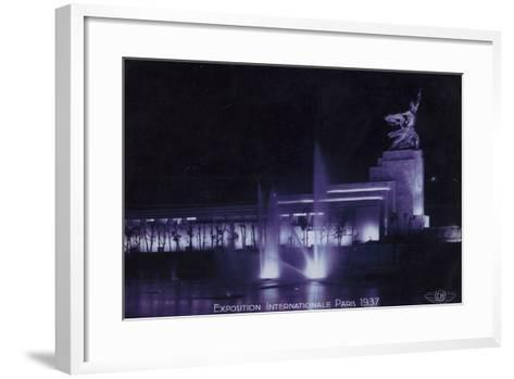 Soviet Pavilion at Night, Exposition Internationale, Paris, 1937--Framed Art Print