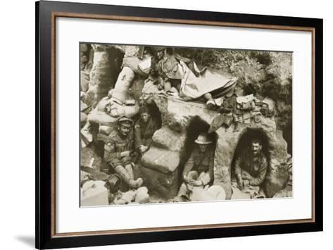 Our Men are Very Comfortable in the Old German Dug-Outs, 1916--Framed Art Print