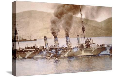 British Cruiser in Camouflage Paint in the Dardanelles, 1915--Stretched Canvas Print
