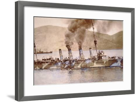 British Cruiser in Camouflage Paint in the Dardanelles, 1915--Framed Art Print