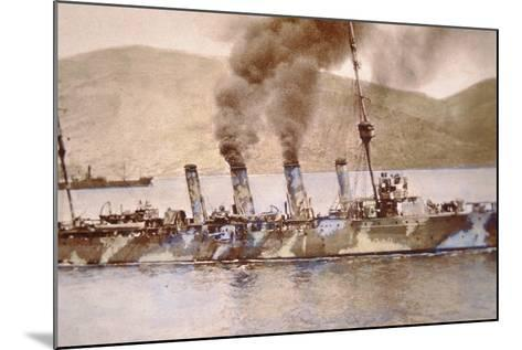 British Cruiser in Camouflage Paint in the Dardanelles, 1915--Mounted Photographic Print