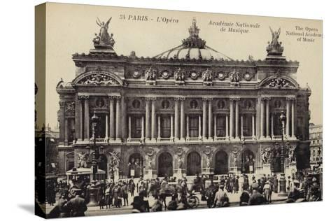 Postcard Depicting the Facade of the Palais Garnier--Stretched Canvas Print