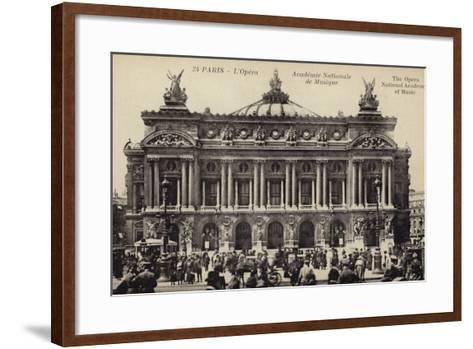 Postcard Depicting the Facade of the Palais Garnier--Framed Art Print