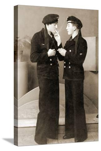 Two German Submariners Enjoying a Cigarette, C.1941--Stretched Canvas Print