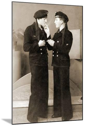 Two German Submariners Enjoying a Cigarette, C.1941--Mounted Photographic Print