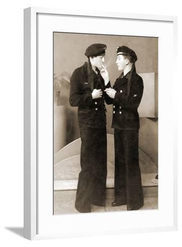 Two German Submariners Enjoying a Cigarette, C.1941--Framed Art Print