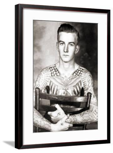 Portrait of Bob Shaw with Tattoos by Bert Grimm, C.1944--Framed Art Print