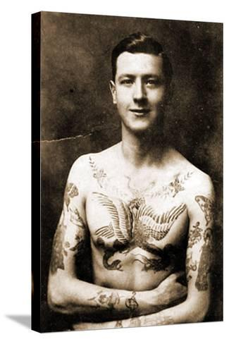 Portrait of a Man with an Elaborate Tattoos C.1920--Stretched Canvas Print
