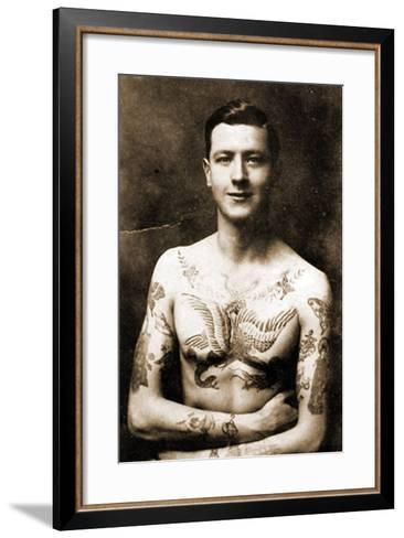 Portrait of a Man with an Elaborate Tattoos C.1920--Framed Art Print