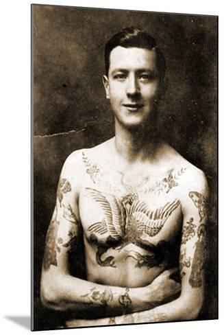 Portrait of a Man with an Elaborate Tattoos C.1920--Mounted Photographic Print