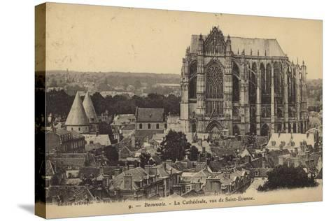Postcard Depicting the Cathedral of Saint Peter of Beauvais--Stretched Canvas Print