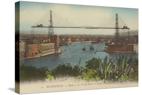 Postcard Depicting the Entrance to the Port of Marseille--Stretched Canvas Print