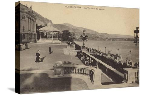 Postcard Depicting the Terrace of the Monte Carlo Casino--Stretched Canvas Print