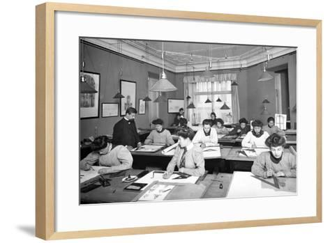 Architectural Drawing Class for Women Students in St. Petersburg--Framed Art Print