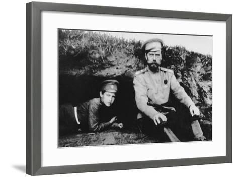 Tsar Nicholas II with His Son Alexei at the Front, 1916--Framed Art Print