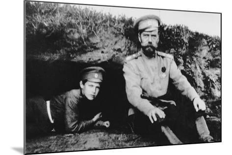 Tsar Nicholas II with His Son Alexei at the Front, 1916--Mounted Photographic Print