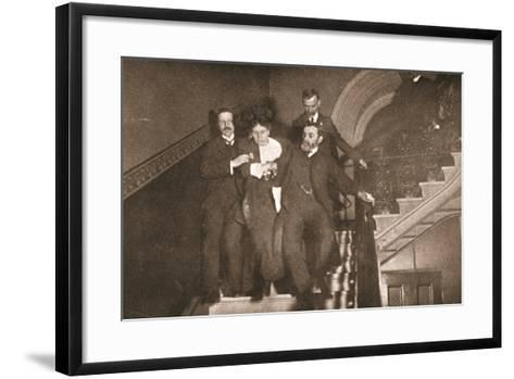 Ejection of a Woman Questioner from City Temple on 12th November, 1908--Framed Art Print
