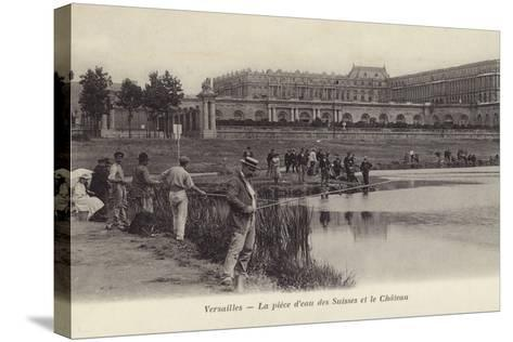 Postcard Depicting Fishing in the Grounds of the Palace of Versailles--Stretched Canvas Print