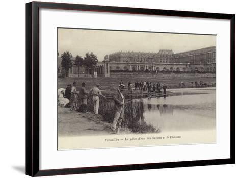 Postcard Depicting Fishing in the Grounds of the Palace of Versailles--Framed Art Print