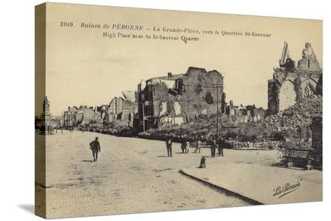 Postcard Depicting Ruins and Damaged Buildings in Le Grande Place--Stretched Canvas Print