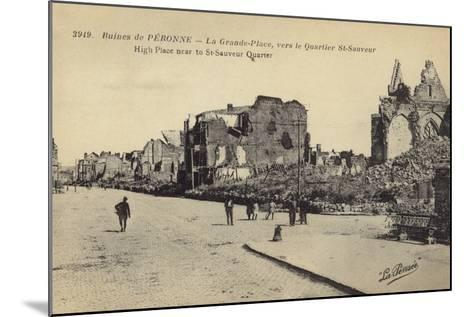 Postcard Depicting Ruins and Damaged Buildings in Le Grande Place--Mounted Photographic Print