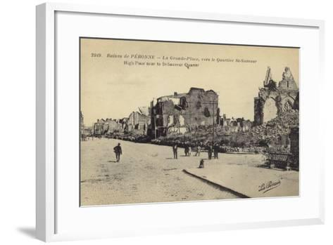 Postcard Depicting Ruins and Damaged Buildings in Le Grande Place--Framed Art Print