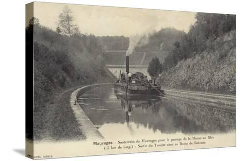 Postcard Depicting a Steam Boat on the Waters of the Marne–Rhine Canal--Stretched Canvas Print