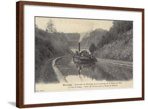 Postcard Depicting a Steam Boat on the Waters of the Marne–Rhine Canal--Framed Art Print