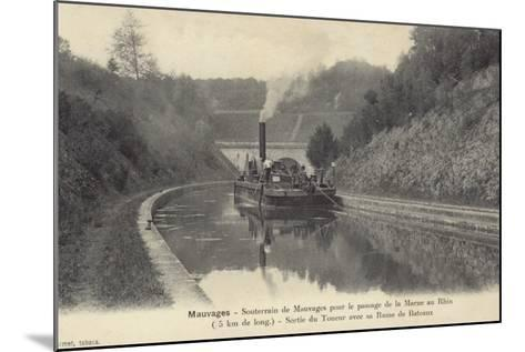 Postcard Depicting a Steam Boat on the Waters of the Marne–Rhine Canal--Mounted Photographic Print