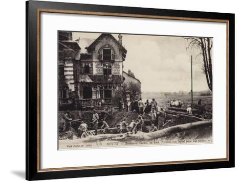 House with a River Flowing Beneath It, Noyon, France, World War I--Framed Art Print