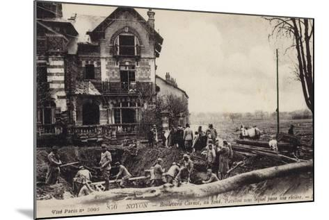House with a River Flowing Beneath It, Noyon, France, World War I--Mounted Photographic Print