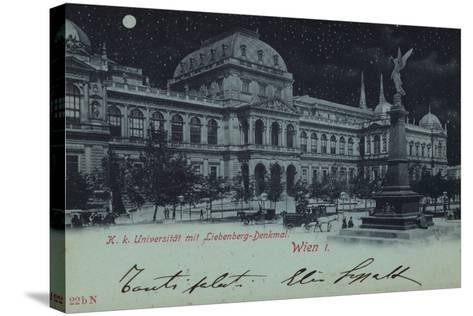 Postcard Depicting the Liebenberg Monument and the University of Vienna--Stretched Canvas Print