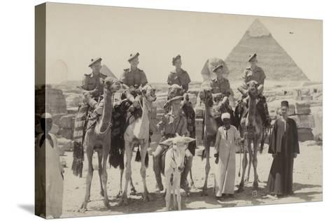 British Soldiers on Camels at the Pyramids of Giza, Egypt, World War II--Stretched Canvas Print