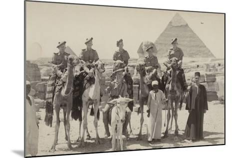 British Soldiers on Camels at the Pyramids of Giza, Egypt, World War II--Mounted Photographic Print