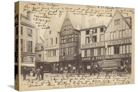 Postcard Depicting Old Houses in the Place Des Marches--Stretched Canvas Print