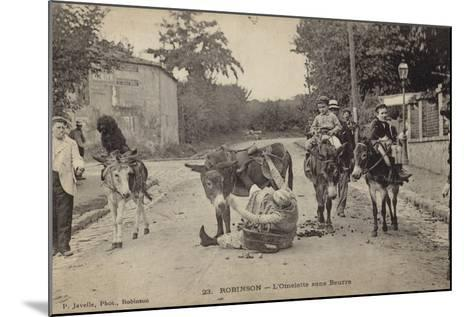 Postcard Depicting a Women Falling from Her Donkey--Mounted Photographic Print
